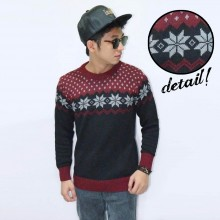 Knit Sweater Snow Tribal Maroon