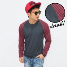 Raglan Dark Grey Sleeve Red Stripe