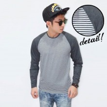 Raglan Stripe White Sleeve Dark Grey