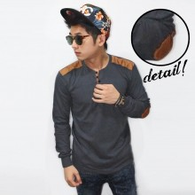 Shoulder Elbow Patch 5 Buttons Grey