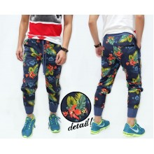 Sweatpants Floral Pattern Kakkoii Navy