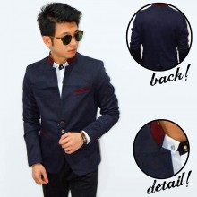 Blazer Mandarin Collar Three Button Navy