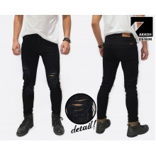 Jeans Pants Ripped Skinny Rocker Kakkoii Black