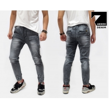 Jogger Pants Denim Sandblasted Kakkoii Black Faded