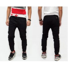 Joggers Pants Suede Plain Black