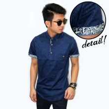 Kemeja 3/4 Placket Batik List Navy
