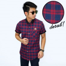 Kemeja Short Flannel Lewis Tartan Red