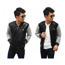 Bomber Jacket Leather Sleeve Quilted Black