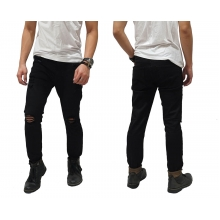 Jeans Pants Ripped Biker Black