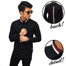 Kemeja Collar Double Stripe Black