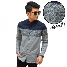 Kemeja Cut And Sew Motif Batik Grey