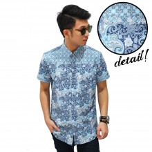 Kemeja Short Batik Abstract Soft Blue