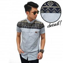 Kemeja Short Block Tribal Ethnic Grey