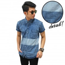 Kemeja Short Denim Blocking Wash