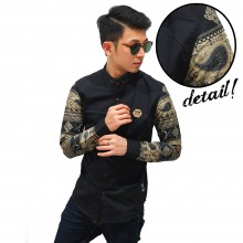 Kemeja Sleeve Paisley Tribal Black