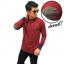 Long Sleeve Terry Elbow Patch Maroon