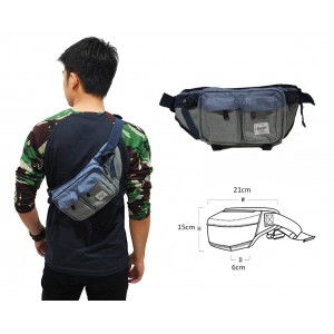 Waist Bag Premium Double Pocket Blue