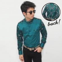 Kemeja Casual Batik Songket Green Tosca