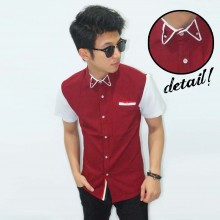Kemeja Short Neck Bowtie Pocket List Maroon