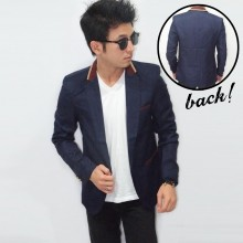 Blazer Casual Collar Creamy List Navy