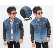 Denim Jacket Leather Sleeves Spotting Washed