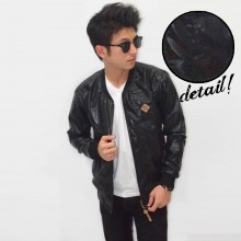 Jacket Leather Black Metallic
