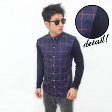 Kemeja Big Square Sleeve Knit Navy