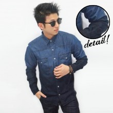 Kemeja Denim Long Ombre Dark Blue