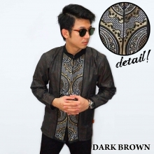 Baju Koko Panjang Bordir Abstract Dark Brown