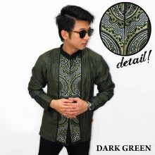 Baju Koko Panjang Bordir Abstract Dark Green