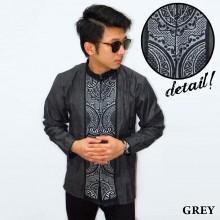 Baju Koko Panjang Bordir Abstract Grey