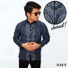 Baju Koko Panjang Bordir Abstract Navy