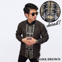 Baju Koko Panjang Bordir Zig Zag Dark Brown