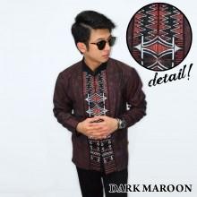 Baju Koko Panjang Bordir Zig Zag Dark Maroon