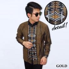 Baju Koko Panjang Bordir Zig Zag Gold