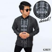 Baju Koko Panjang Bordir Zig Zag Grey