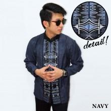 Baju Koko Panjang Bordir Zig Zag Navy