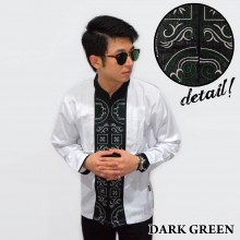 Baju Koko Panjang White Bordir Kotak Dark Green