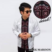 Baju Koko Panjang White Bordir Kotak Dark Maroon