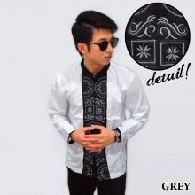 Baju Koko Panjang White Bordir Kotak Grey