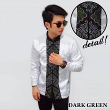 Baju Koko Panjang White Bordir Ornamental Dark Green