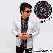Baju Koko Panjang White Bordir Padi Dark Maroon