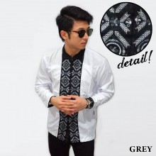 Baju Koko Panjang White Bordir Padi Grey
