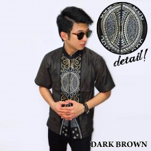 Baju Koko Pendek Bordir Vector Bola Dark Brown