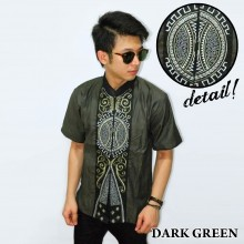 Baju Koko Pendek Bordir Vector Bola Dark Green