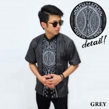 Baju Koko Pendek Bordir Vector Bola Grey