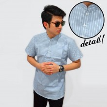 Baju Koko Pendek Fashion Oxford Stripe