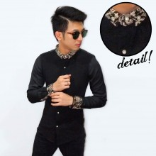 Kemeja Collar Batik Casual Black