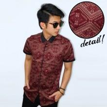 Kemeja Short Batik Collar Suede Maroon