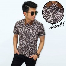 Kemeja Short Batik Zig Zag Brown